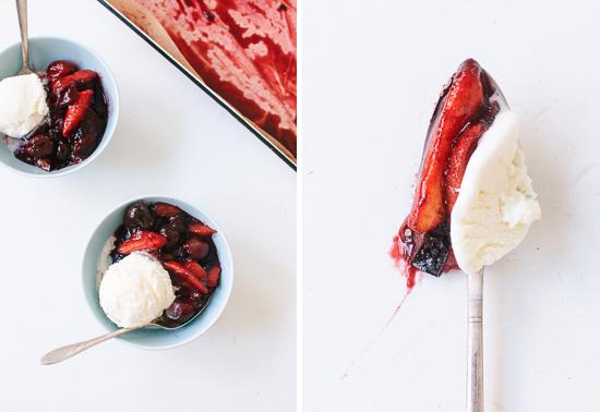 roasted stone fruit sundae