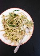 Cilantro-pepita pesto with squash ribbons and fettuccine recipe