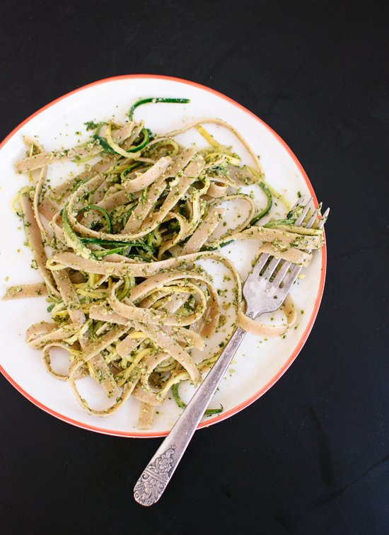 Cilantro-pepita pesto with squash ribbons and fettuccine recipe - cookieandkate.com
