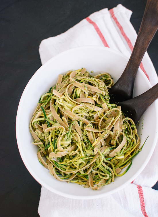 Cilantro-pepita pesto with squash ribbons and fettuccine