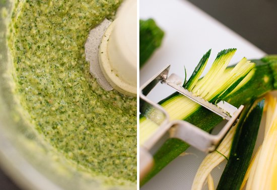 pesto and julienne peeler