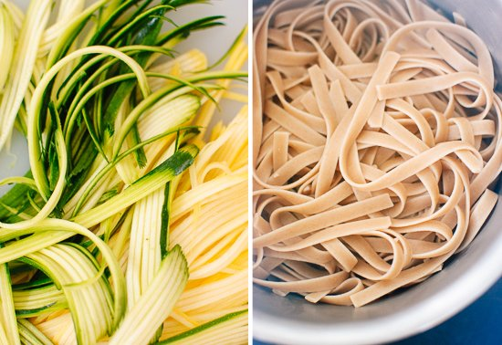 squash ribbons and fettuccine
