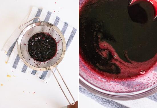 strained blueberry honey