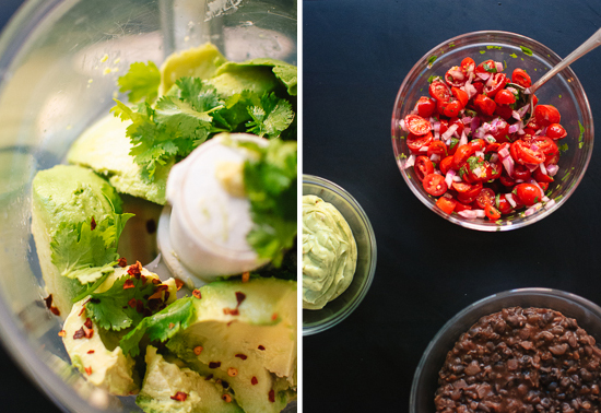 avocado, cilantro and salad ingredients