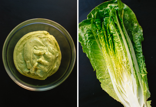 avocado dressing and romaine wedge