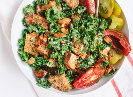 BLT salad with coconut bacon