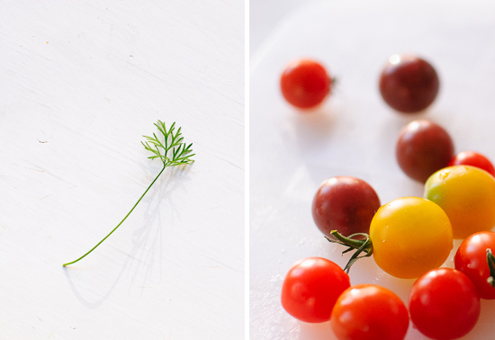 dill and mini heirloom tomatoes
