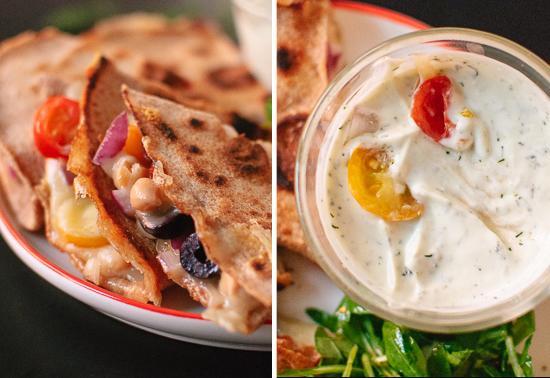 Greek quesadillas and dill yogurt dip