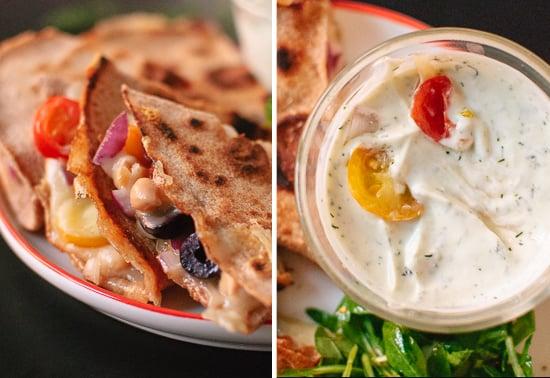 Greek quesadillas and dill yogurt dip