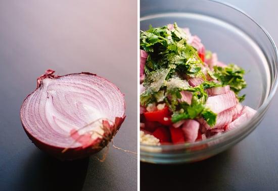 red onion and pico de gallo