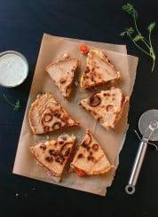 tomato, olive and chickpea quesadilla with dill yogurt dip recipe