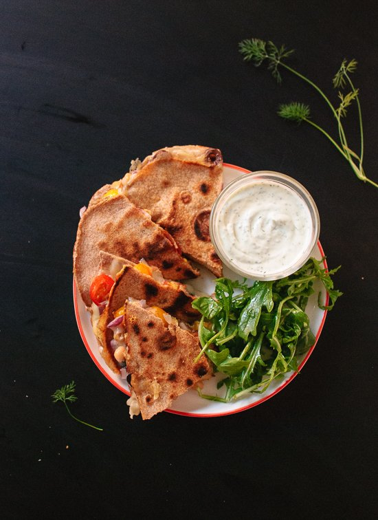 Tomato, olive and chickpea quesadilla with dill yogurt dip