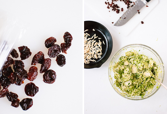 dried cherries, almonds and brussels sprouts