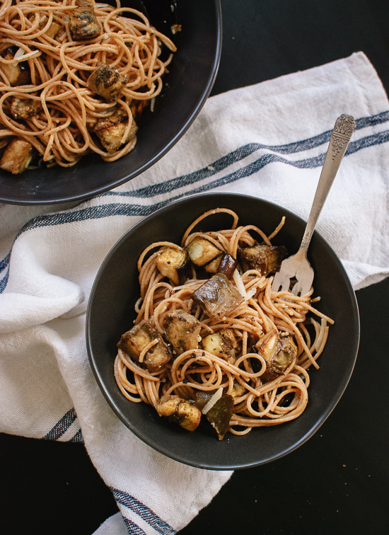Roasted eggplant spaghetti with miso brown butter sauce recipe