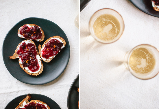 cranberry crostini and champagne