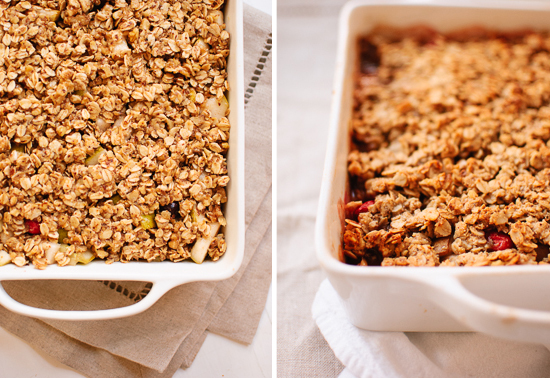 how to make a pear cranberry crisp