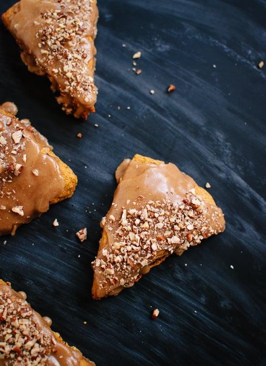 Healthy pumpkin pecan scones with maple glaze