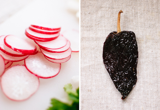 radishes and dried chili pepper