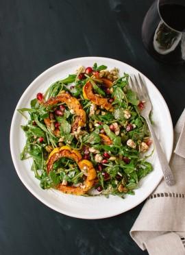 Roasted Delicata Squash, Pomegranate and Arugula Salad