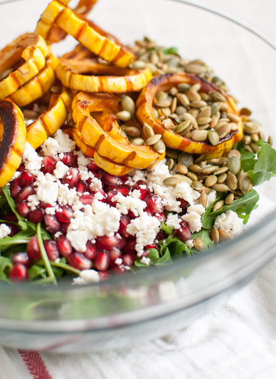 Roasted delicata squash, pomegranate and arugula salad how to make