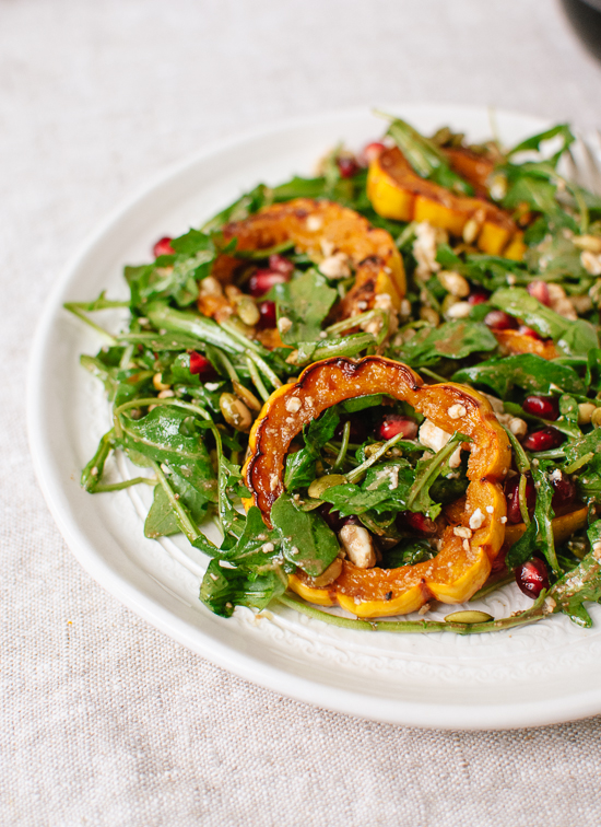 Roasted delicata squash, pomegranate and arugula salad recipe