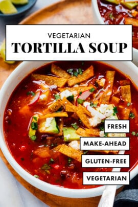 vegetarian tortilla soup pin