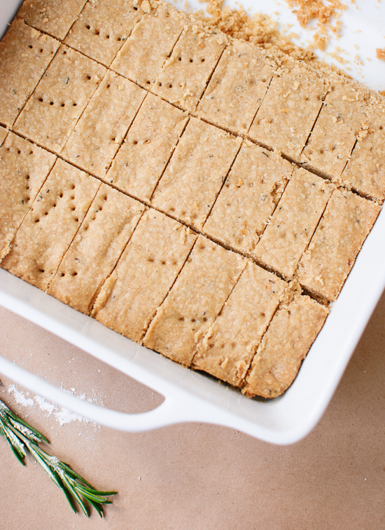 Baked lemon, rosemary and olive oil shortbread