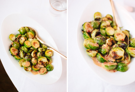 Brussels sprouts with spicy coconut ginger sauce