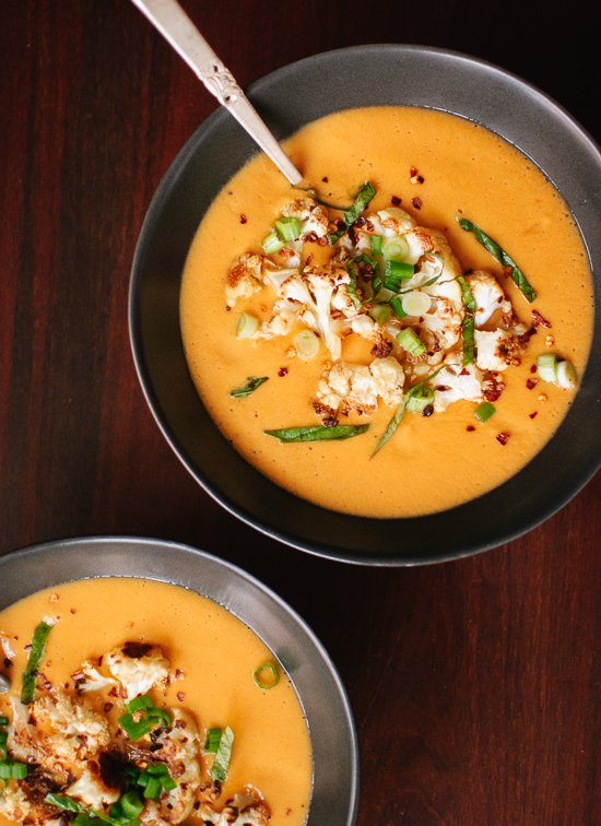 Curried cauliflower soup recipe - by @cookieandkate