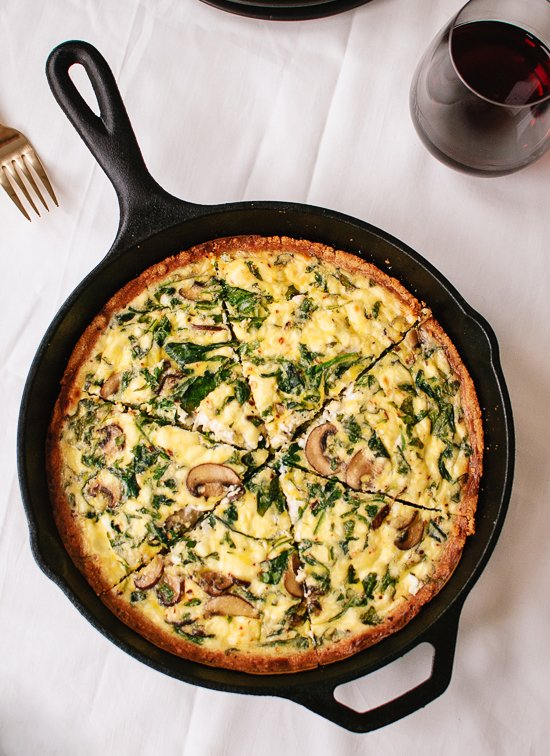 Gluten Free Dinner Party Ideas Part - 20: Arugula And Cremini Quiche With Gluten-Free Almond Meal Crust -  Cookieandkate.com