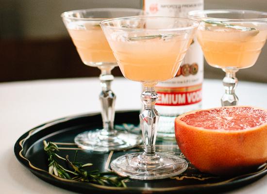 grapefruit, honey, rosemary and vodka cocktail