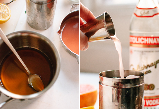 honey, simple syrup and grapefruit juice
