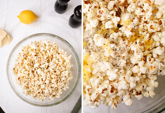 popped popcorn with lemon, parmesan and pepper