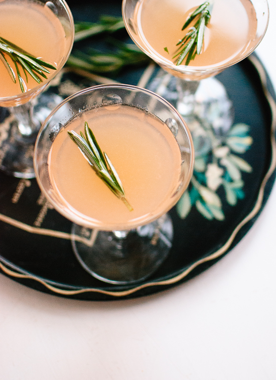 Ruby red and rosemary honey cocktail