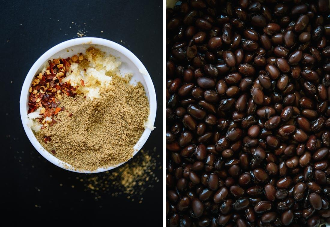 spices and black beans