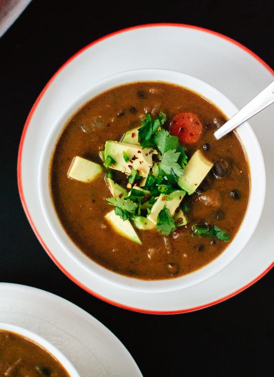 Spicy vegan black bean soup recipe