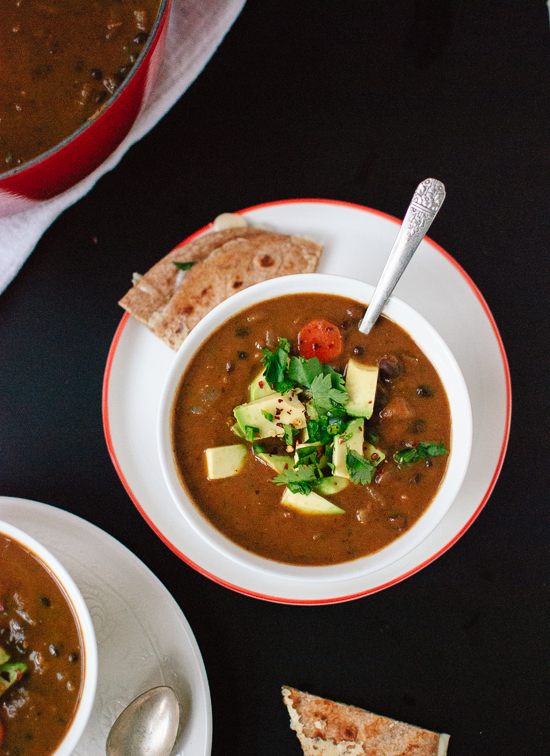 Spicy vegan black bean soup - cookieandkate.com