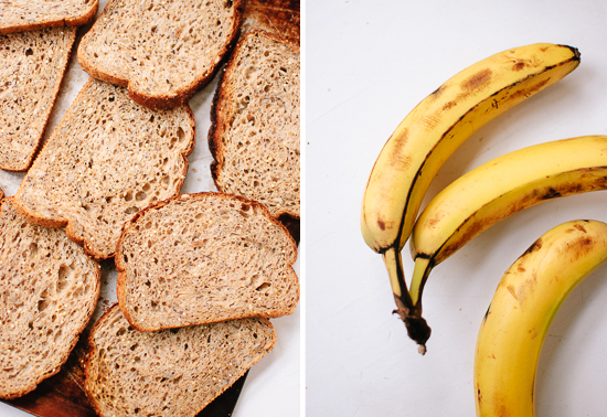 whole grain bread and bananas