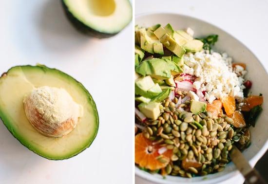 avocado, radish, feta salad
