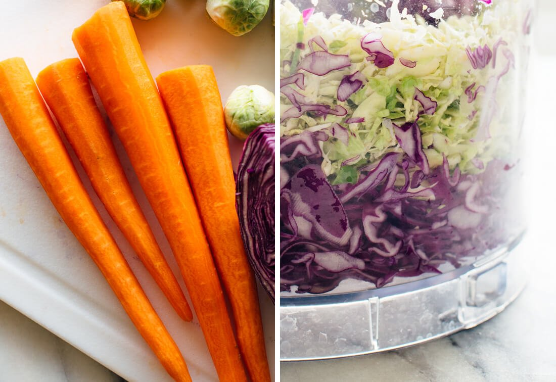 carrots and shredded cabbage