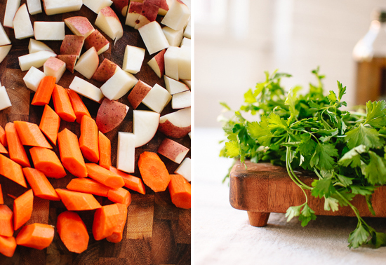 carrots, potatoes and parsley