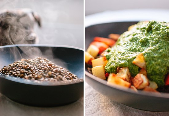 cooked lentils, roasted vegetables and gremolata