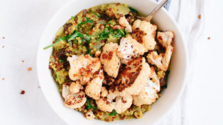 Curried Coconut Quinoa and Greens with Roasted Cauliflower - cookieandkate.com
