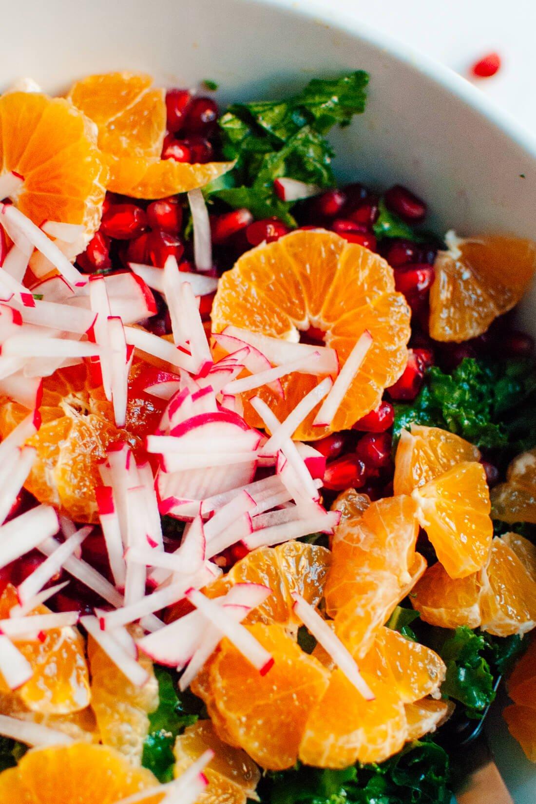 Radish, clementine, pomegranate and kale salad