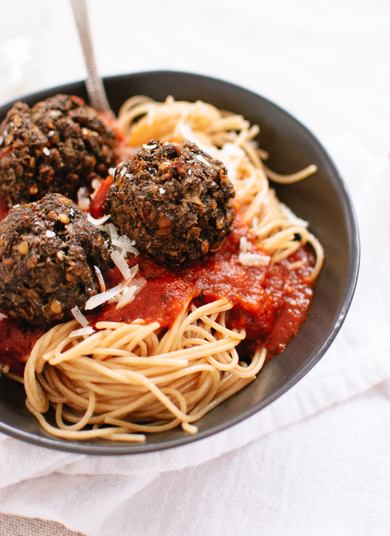 Vegetarian Lentil and Mushroom Meatballs - recipe at cookieandkate.com