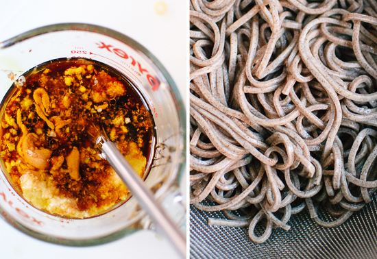 peanut sauce and soba noodles