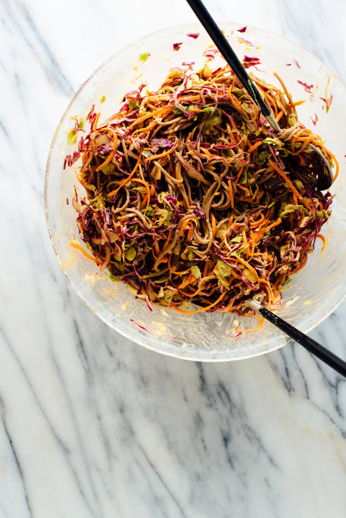 peanut soba noodles with cabbage carrots