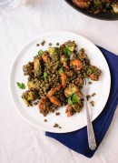 Roasted carrot and potato, lentils and miso parsley sauce - cookieandkate.com