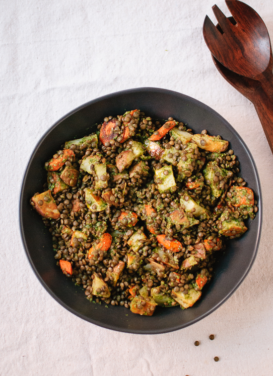 Roasted carrot and potato, lentils and miso parsley sauce recipe - cookieandkate.com