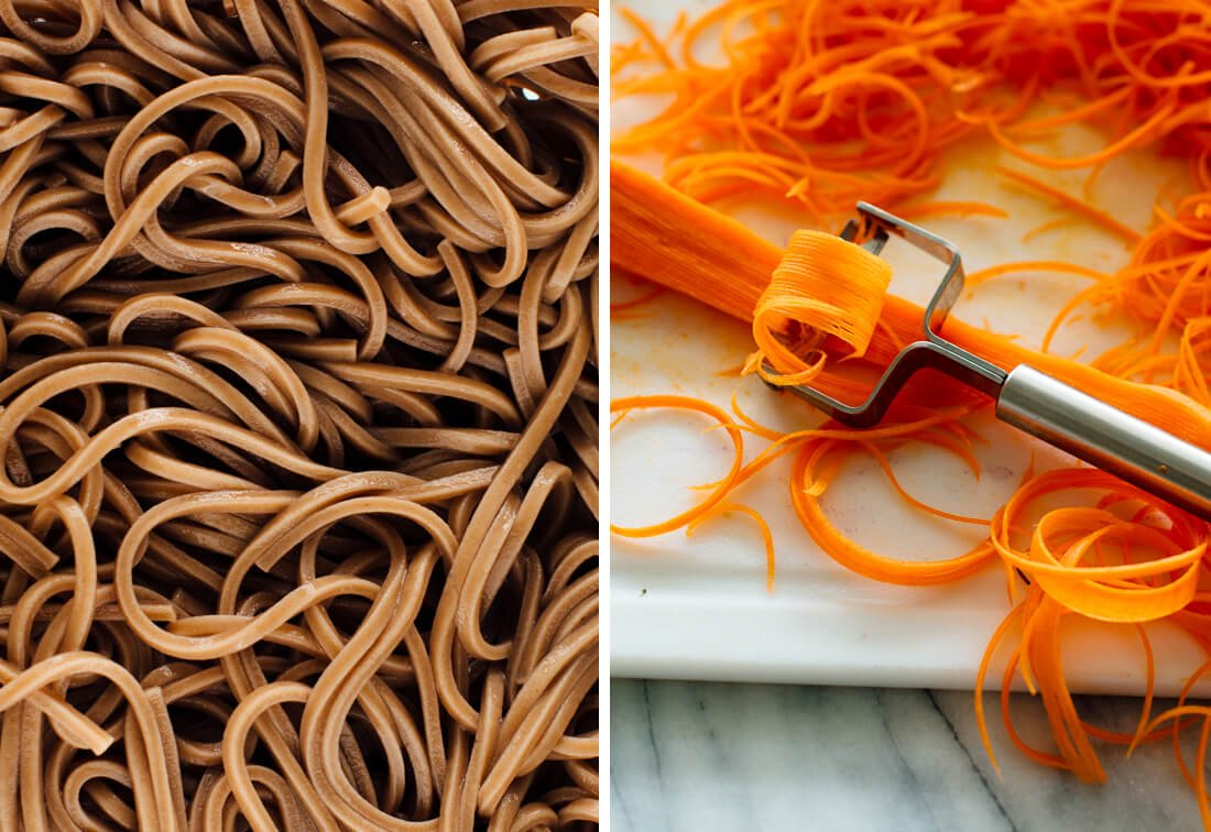 soba noodles and carrot ribbons